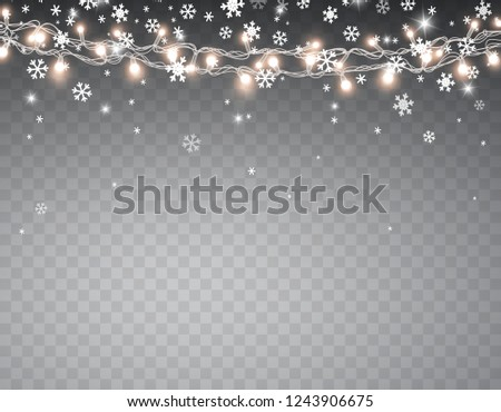 Christmas Lights That Look Like Water Falling.Snow Glowing Christmas Lights Isolated On Stock Vector