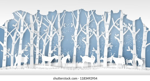 Snow goats in forest in the winter season with trees as nature, life , Paper art and digital craft style concept. vector illustration