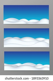 Snow ground landscape on blue background. Set of realistic winter cold terrains with snowdrift and snow hills. Decorative borders and edges for snowy design. Vector 3d illustration