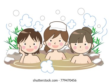 Snow Hot spring image - woman group