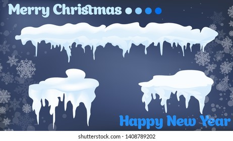 Snow, ice cap with shadow. Snowfall and snowflakes. Winter season. Blue background. Christmas and New Year time.