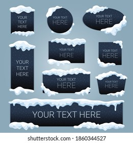 Snow ice cap your text here advertising black banners set rectangular square oval round shapes vector illustration