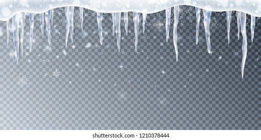 Snow, ice cup, icicles. Snow frame background. Realistic transparent elements.