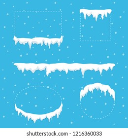 Snow ice icicle set for square, circle, ellipse and rectangle forms. Winter snow caps with ice. Winter decor. Christmas concept. Vector illustration in flat style.