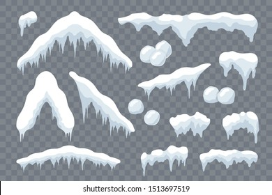 Snow ice set Winter roof cap design. White blue snow ball template. Snowy icicle frame decoration isolated transparent background. 3D realistic. Christmas, New Year frozen texture Vector illustration