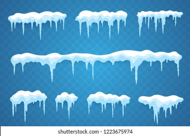 Snow icicles set isolated on transparent background. Snowcap borders. Vector snowy elements. Hanging icicles in flat style. Decoration for winter design.