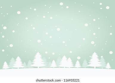 Snow landscape background. Vector illustration for retro christmas card.