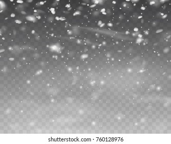 Snow landscape with falling snowflakes isolated on transparent background. Snowfall winter sky. Cold snow flake fall effect. Vector snowstorm overlay pattern for winter, Christmas or New Year design