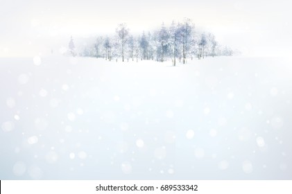Snow landscape with forest on the background and snowflakes falling. Vector winter background.