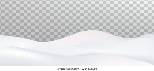 Snow landscape isolated on transparent background. Snow drift, mountain, Vector illustration.