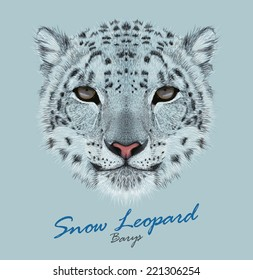 Snow leopard animal cute face. Vector Asian Irbis head portrait. Realistic fur portrait of snow wild spotted panther isolated on blue background.