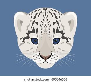 Snow leopard cub. Face of cute baby snow leopard. Vector illustration.