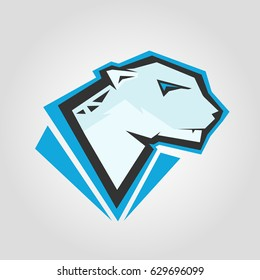 Snow leopard head. Mockup template animal symbol, logo, emblem or sticker for branding, printing, sports team. Vector illustration on white background.