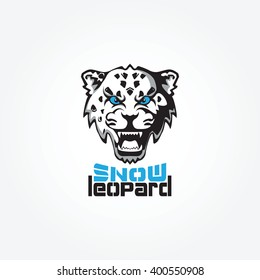 Snow Leopard mascot vector illustration. The evil face of the beast.