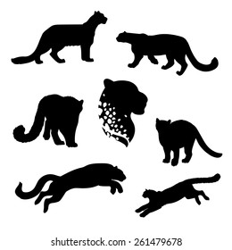 Snow leopard set of silhouettes vector