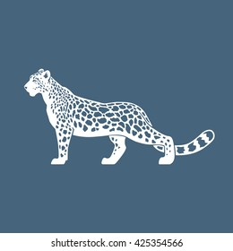 Snow Leopard vector illustration logo, sign, emblem on blue background