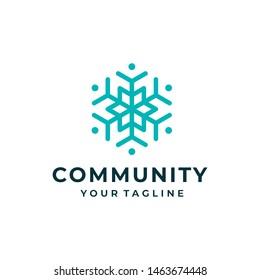 Snow logo and icon design vector. Community logo design.