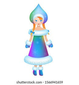 Snow Maiden (Snegurochka), traditional Russian Christmas character. Beautiful girl wear in long blue coat with white fur. Vector illustration. Snow Maiden isolated on white background. Santa helper