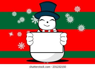 snow man cartoon xmas background card in vector format very easy to edit