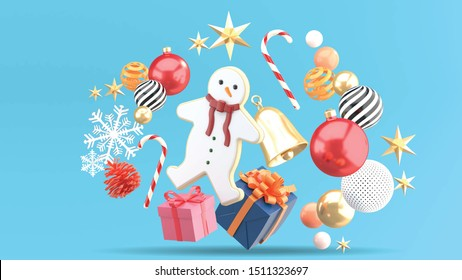 Snow man cookies are surrounded by gift boxes, candies, crystal balls, bells and snow on a blue background.