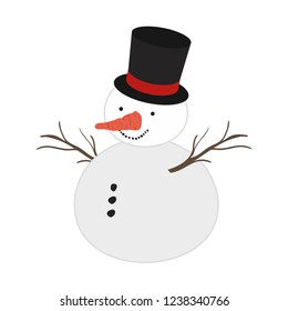 snow man with hat isolated icon