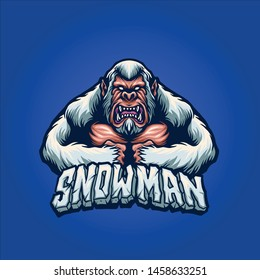 snow man mascot logo design