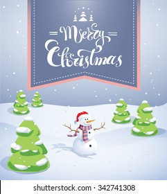 Snow man on a snowy field surrounded by green trees covered with ice, Merry Christmas post card illustration, EPS 10