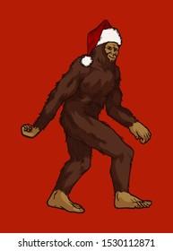 Snow man in Santa Claus hat - Christmas bigfoot illustration - Santa sasquatch