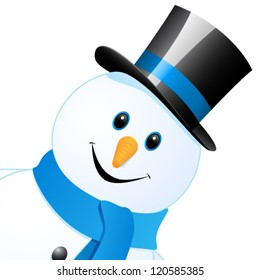 snow man with top hat - vector illustration