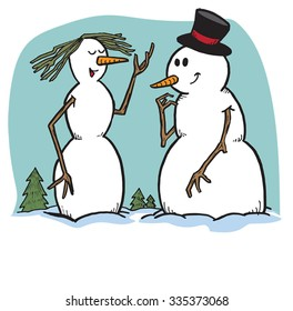 Snow Man and Woman chatting in winter outdoor