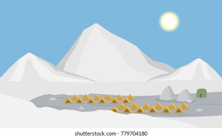 snow mountain landscape with climbers tent , base camp,  cartoon vector