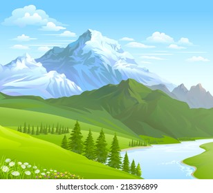 SNOW  MOUNTAIN AND RIVER FLOWING IN A VALLEY