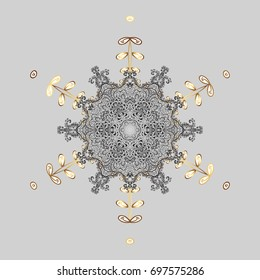 Snow on gray background. Symbol of winter, Merry Christmas holiday, Happy New Year celebration Vector illustration. Abstract wallpaper, wrapping decoration. Snowflake simple.