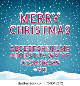 Snow on the Letters, Winter Font, Holiday Background with Alphabet and Numbers, Snowfall and Snowdrifts, Vector Illustration
