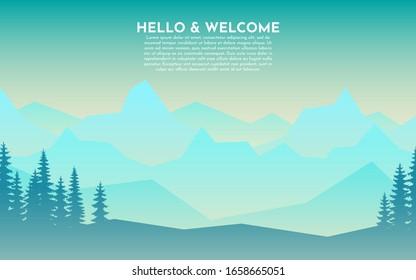 Snow on the mountains. Blue, green, yellow gradient. Cold light. Forest and single trees. Abstract landscape. Vector banner with polygonal landscape illustration. Minimalist style. Flat design.