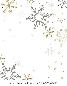 Snow patterns on Christmas and New Year. Vector gray and gold.