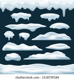 Snow pile vector icons set. Snows caps and roof icing objects, winter snowdrifts piles collection decoration elements for christmas games, new year banners