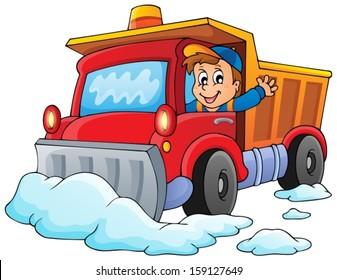 Snow plough theme image 1 - eps10 vector illustration.