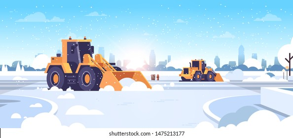 snow plow tractors cleaning city snowy roads winter streets snow removal concept modern cityscape sunshine background flat horizontal