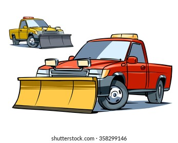 Snow Plow Truck isolated on transparent background. Color illustration.