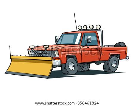 Snow Plow Truck Vector Illustration Pickup Stock Vector Royalty