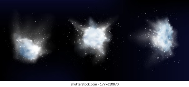 Snow powder white explosion, ice or snowflakes splash clouds, design elements for christmas, new year holidays, winter season promo isolated on dark background. Realistic 3d vector illustration, set