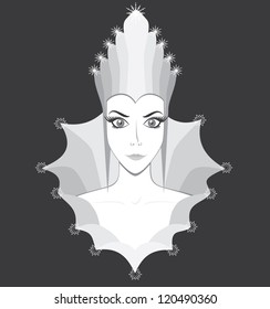 Snow queen black and white logo