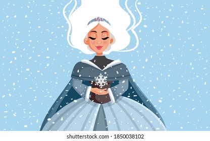 Snow Queen Holding Snowflake in Winter Time. Cartoon portrait of a beautiful winter princess