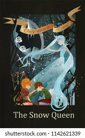 Snow Queen, Kai and Gerda fairy tale illustration