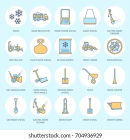 Snow removal colored flat line icons. Ice relocation service signs. Cold weather equipment - thrower, blower, truck, front loader, shovel. Vector illustration, industrial cleaning symbols.