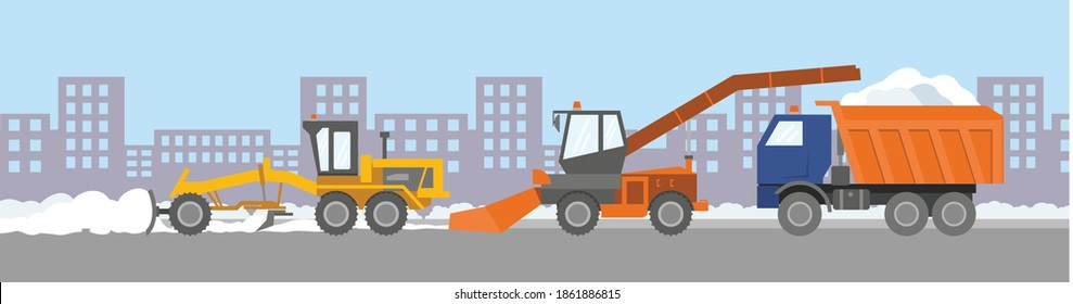 Snow removal equipment: an orange snowplow and a truck covered with snow against the backdrop of city streets. Finished illustration: the problem of snow removal and removal. Flat infographics. Vector