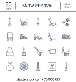 Snow removal flat line icons. Ice relocation service signs. Cold weather equipment - thrower, blower, truck, front loader, shovel. Vector illustration, industrial cleaning symbols.