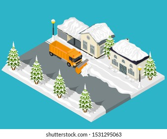 Snow Removal from Road Scene Concept 3d Isometric View Include of Snowplow Machine and Home. Vector illustration