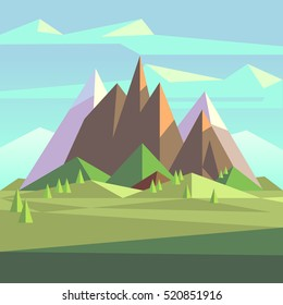 Snow rock mountains landscape in low poly vector style